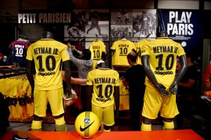 Neymar's Tee shirt merchandise is sold in the club shop before the New signing player Neymar of Paris Saint-Germain at Parc des Princes on August 4, 2017 in Paris, France. (Photo by Anthony Dibon/Icon Sport)