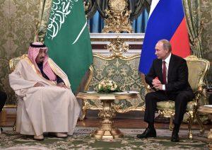 На снимката:Кралят на Саудитска Арабия Салман и руския президент Владимир Путин