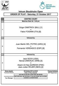 Програма за тенис турнира в Стокхолм