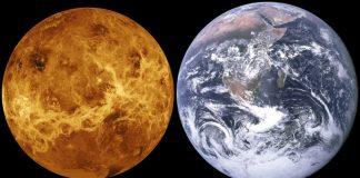 Венера /ляво/ и Земята