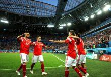 """Домакинът Русия срази Египет с 3:1 на стадион """"Крестовски"""" в Санкт Петербург и след втората си поредна победа в група А вече може да мисли з"""