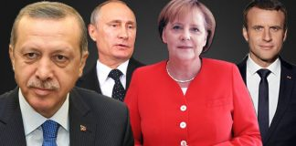 Руският президент Владимир Путин, канцлерът на Германия Ангела Меркел, френският президент Еманюел Макрон и турският им колега Реджеп Ердоган