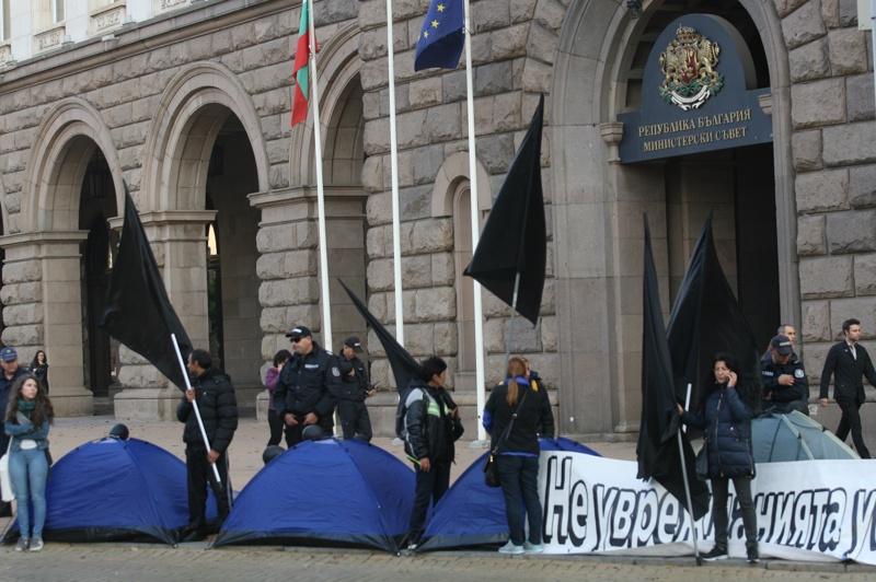майки, палатки, протест