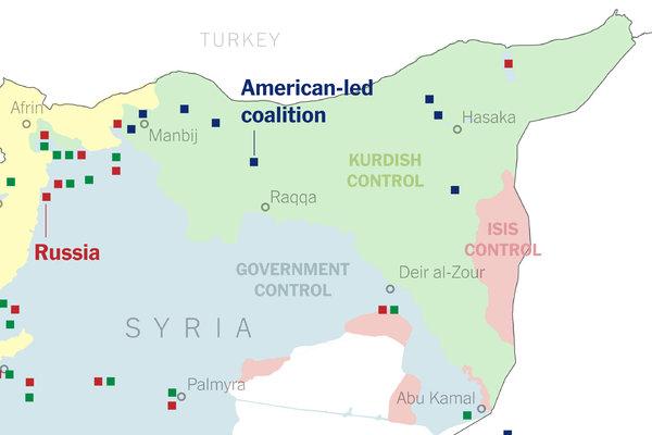 """В червено е територията все още контролирана от """"Ислямска държава"""" Източник: New York Times"""