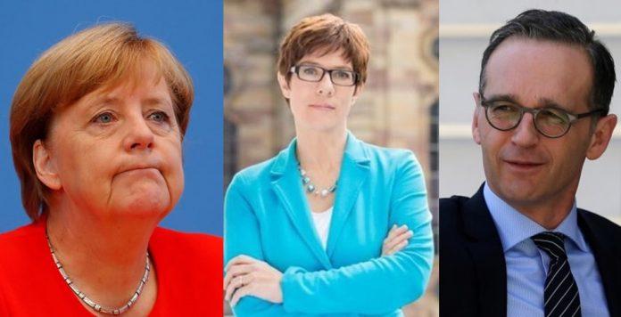 Хайко Маас, Ангела Меркел, Анегрет Крамп-Каренбауер