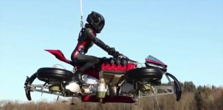 летящ мотоциклет