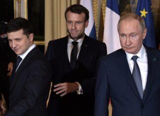Еманюел Макрон, Володимир Зеленски, Владимир Путин