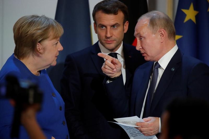 Ангела Меркел, Владимир Путин, Еманюел Макрон