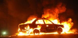 кола, запалена