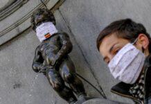 Брюксел, Белгия, карантина, коронавирус