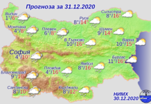 Днес с преминаването на студен атмосферен фронт от запад на изток на места ще превали дъжд. Вятърът ще се ориентира от запад-северозапад и ще отслабне. Максималните температури ще са от 5°- 8° в западните райони до 14°-16° в източните райони. В новогодишната нощ в Източна България все още ще превалява, но до сутринта и там валежите ще спрат. В почти цялата страна вятърът ще стихне, в североизточните райони ще е до умерен от северозапад.