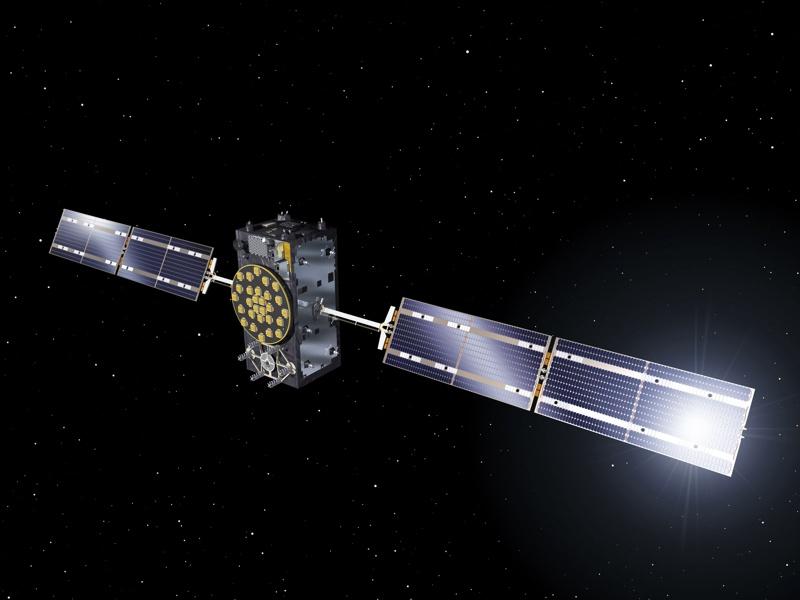Снимка, предоставена от Европейската космическа агенция показва един от сателитите с пълна оперативна способност на Галилео.