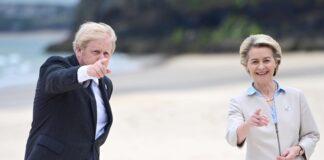 Британският премиер Борис Джонсън и председателят на Европейската комисия Урсула фон дер Лайен