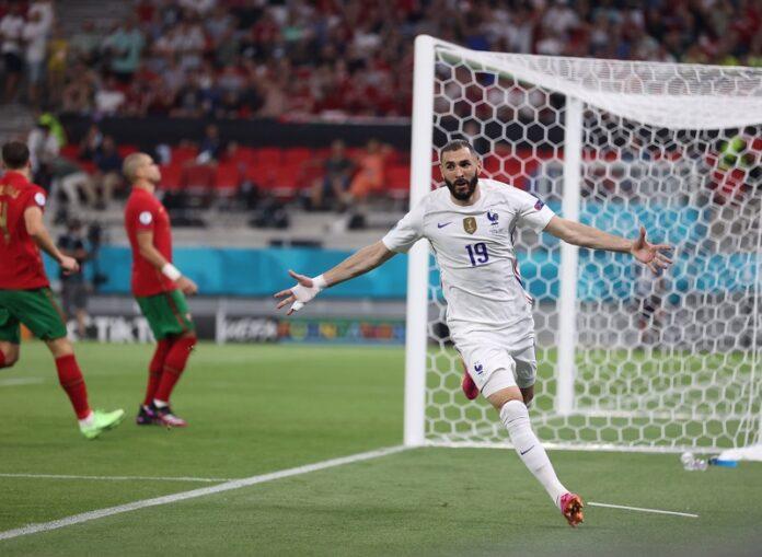 Карим Бензема (Франция) празнува, след като отбеляза втория гол за отбора си по време на футболния мач между Португалия и Франция в Будапеща, Унгария, 23 юни 2021г.