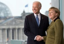 Северен поток Германският канцлер Ангела Меркел пoсреща Джо Байдън (тогава вицепрезидент) в Берлин, Германия, 01 февруари 2013г.