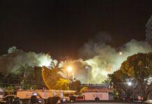 Изглед към развалините на сградата в Сърфсайд, Флорида след нейното събаряне. Градските власти решиха да разрушат останалата част, ускорявайки плановете си поради наближаващата тропическа буря Елза.