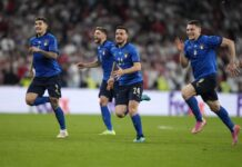 Играчите на Италия празнуват, след като спечелиха финала на ЕВРО 2020 между Италия и Англия в Лондон, Великобритания, 11 юли 2021г.