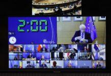 Върховния представител на Европейския съюз за външните работи Жозеп Борел по време на извънреден Съвет по външни работи, посветен на ситуацията в Афганистан