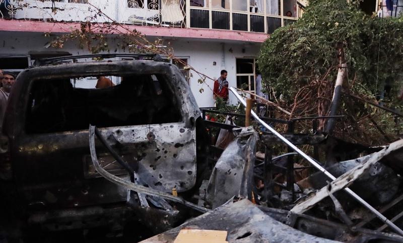 Изглед на щетите, причинени от удара в Кабул, Афганистан, 29 август 2021г.